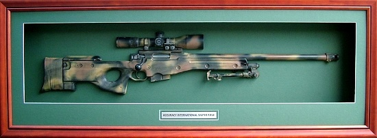 Military Trophies Shadow Box Presented Rifles Carbines